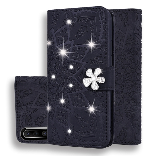 For Galaxy A50s / A30s / A50 Calf Pattern Diamond Mandala Double Folding Design Embossed Leather Case with Wallet & Holder & Card Slots(Black)