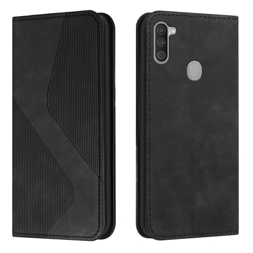 For Samsung Galaxy A11 / M11 Skin Feel Magnetic S-type Solid Color Horizontal Flip Leather Case with Holder & Card Slot & Wallet(Black)