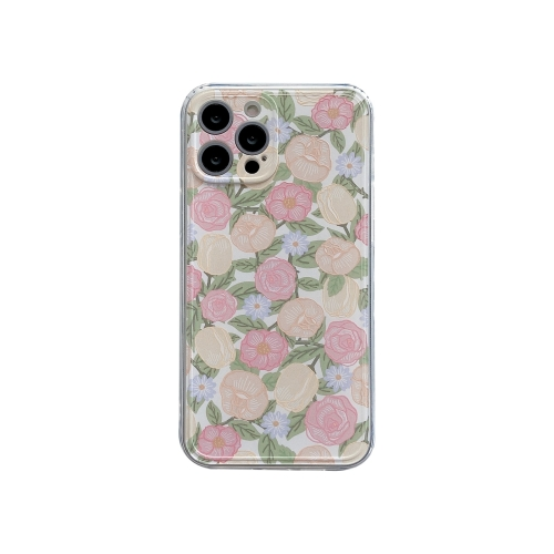 TPU Embossed + Double-sided Painting Protective Case For iPhone 11(Pink Rose)  - buy with discount