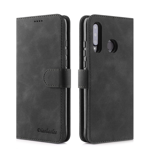 For Huawei P30 Lite / nova 4e Diaobaolee Pure Fresh Texture Horizontal Flip Leather Case, with Holder & Card Slot & Wallet & Photo Frame(Black)