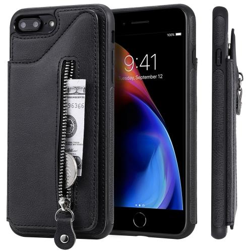 For iPhone 8 Plus / 7 Plus Solid Color Double Buckle Zipper Shockproof Protective Case(Black)