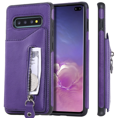 For Galaxy S10 Plus Solid Color Double Buckle Zipper Shockproof Protective Case(Purple) фото