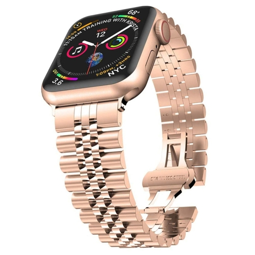 Five Beads Stainless Steel Replacement Watchbands For Apple Watch Series 6 & SE & 5 & 4 44mm / 3 & 2 & 1 42mm(Rose Gold)  - buy with discount