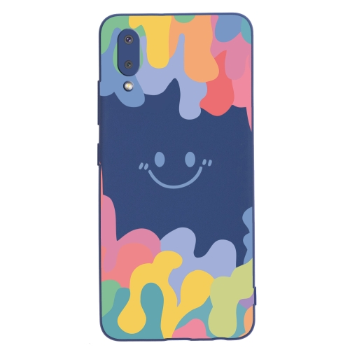 For Samsung Galaxy A02 EU Version Painted Smiley Face Pattern Liquid Silicone Shockproof Case(Dark Blue)  - buy with discount