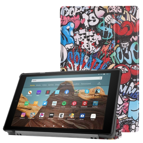For Amazon Kindle Fire HD 10 2017 / 2019 Colored Drawing Horizontal Flip Leather Case with Three-folding Holder & Sleep / Wake-up Function(Graffiti)
