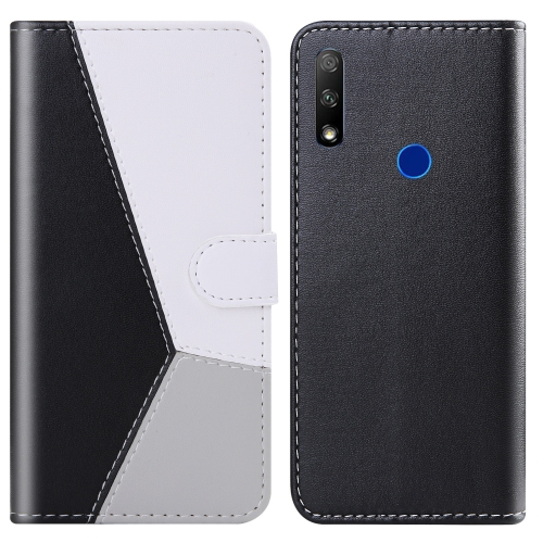 For Huawei Honor 9X Tricolor Stitching Horizontal Flip TPU + PU Leather Case with Holder & Card Slots & Wallet(Black)