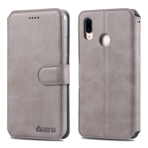 For Huawei P20 Lite AZNS Calf Texture Magnetic Horizontal Flip PU Leather Case with Holder & Card Slots & Photo Frame(Gray)