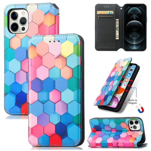 Colored Drawing Magnetic Horizontal Flip PU Leather Case with Holder & Card Slots & Wallet For iPhone 11(Color Honeycomb)  - buy with discount