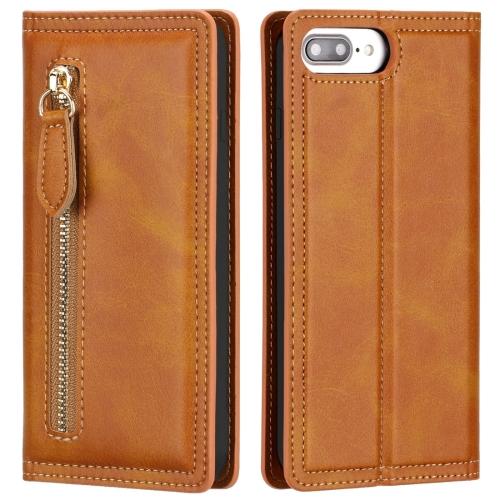 For iPhone 6 Plus / 7 Plus / 8 Plus Skin Texture Magnetic Zipper Horizontal Flip Leather Case with Card Slot & Wallet(Orange)