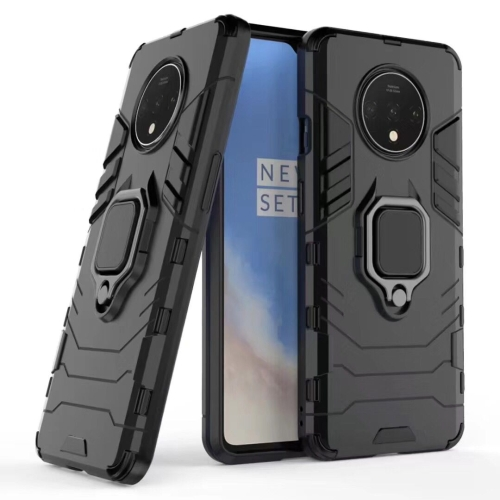 For OnePlus 7T Shockproof PC + TPU Case with Magnetic Ring Holder(Black) фото