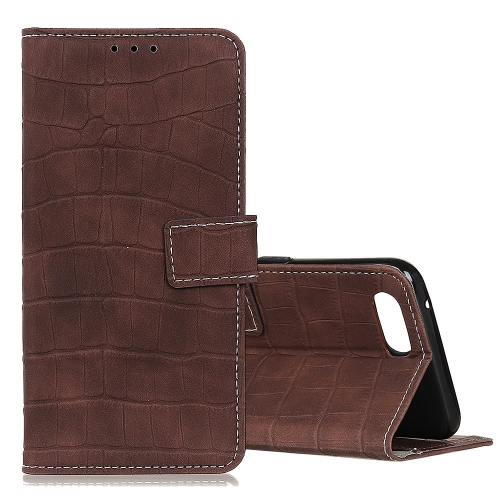For Alcatel 1V (2019) Crocodile Texture Horizontal Flip Leather Case with Holder & Card Slots & Wallet(Brown)