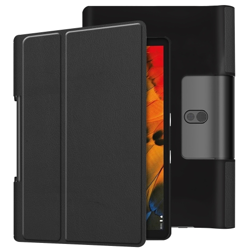 For Lenovo Yoga Smart Tab Custer Texture Horizontal Flip Leather Case with Two-folding Holder(Black)