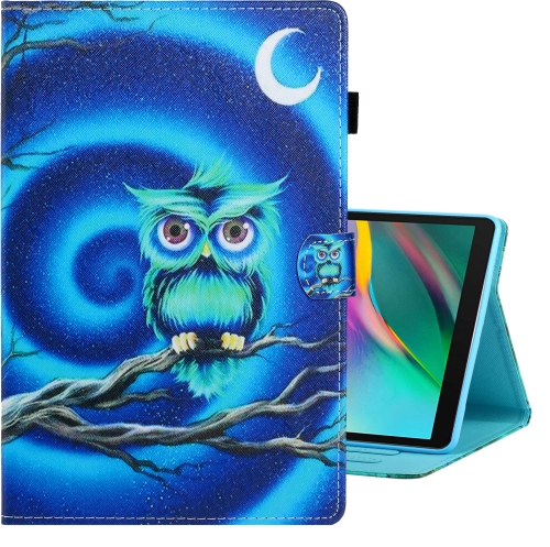 For Galaxy Tab A 10.1 (2019) / T510 Colored Drawing Horizontal Flip PU Leather Case with Holder & Card Slot(Moon Owl)