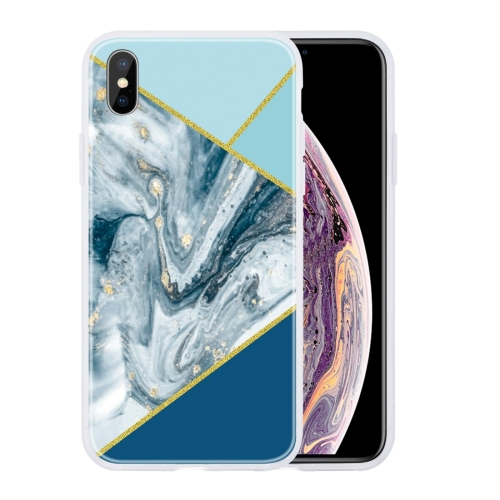 For iPhone X / XS Geometric Marble Series Frosted Translucent TPU Protective Case(Rust) фото