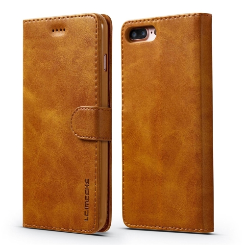 For iPhone 8 Plus / 7 Plus LC.IMEEKE Calf Texture Horizontal Flip Leather Case, with Holder & Card Slots & Wallet(Yellow)