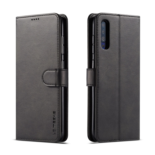 For Galaxy A50 LC.IMEEKE Calf Texture Horizontal Flip Leather Case, with Holder & Card Slots & Wallet(Black)