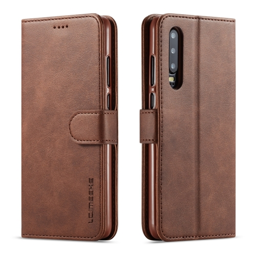 For Huawei P30 LC.IMEEKE Calf Texture Horizontal Flip Leather Case, with Holder & Card Slots & Wallet(Brown)