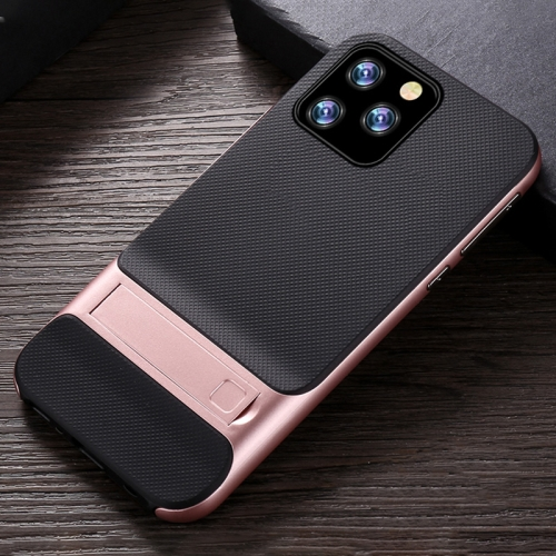 For iPhone 11 Pro Plaid Texture Non-slip TPU + PC Case with Holder(Rose Gold)