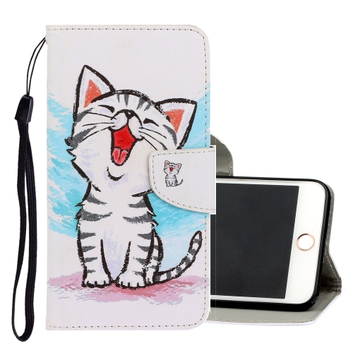 For iPhone 6 / 6s 3D Colored Drawing Horizontal Flip PU Leather Case with Holder & Card Slots & Wallet(Red Mouth Cat) фото