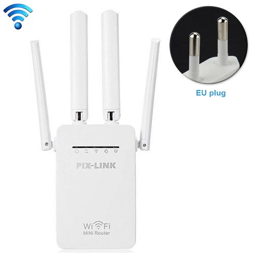 Wireless Smart WiFi Router Repeater with 4 WiFi Antennas, Plug Specification:EU Plug(White)