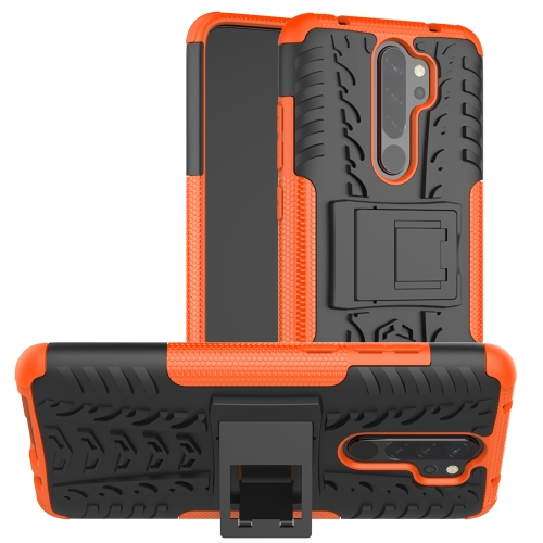 For Xiaomi Redmi Note 8 Pro Tire Texture Shockproof TPU+PC Protective Case with Holder(Orange)