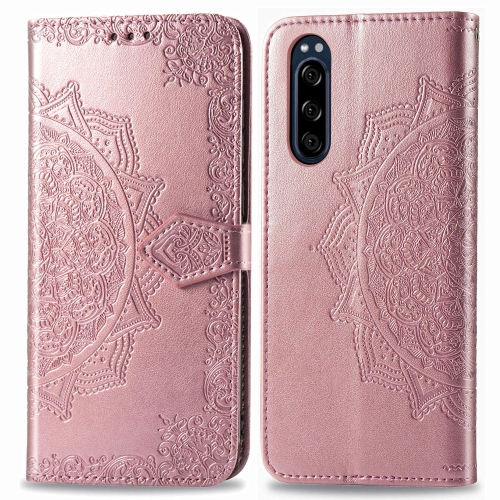 For Sony Xperia 5 Embossed Mandala Pattern PC + TPU Horizontal Flip Leather Case with Holder & Card Slots(Rose Gold) фото