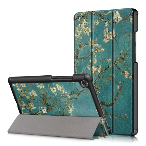For Lenovo Tab M8 Coloured Drawing Pattern Horizontal Deformation Flip Leather Case with Three-folding Holder(Apricot Flower)