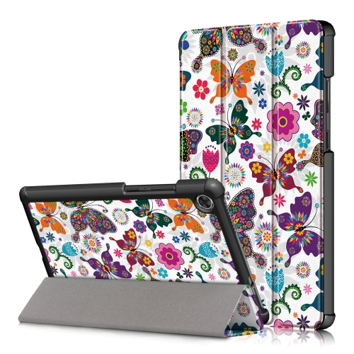 For Lenovo Tab M8 Coloured Drawing Pattern Horizontal Deformation Flip Leather Case with Three-folding Holder(Butterfly)