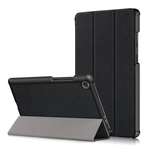 For Lenovo Tab M8 Custer Texture Horizontal Flip Smart TPU Leather Case with Three-folding Holder(Black)