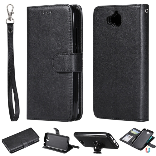 For Huawei Y6 Pro / Enjoy 5 Solid Color Horizontal Flip Protective Case with Holder & Card Slots & Wallet & Photo Frame & Lanyard(Black)