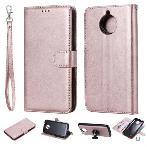 For Motorola Moto G5s Plus Solid Color Horizontal Flip Protective Case with Holder & Card Slots & Wallet & Photo Frame & Lanyard(Rose Gold) фото