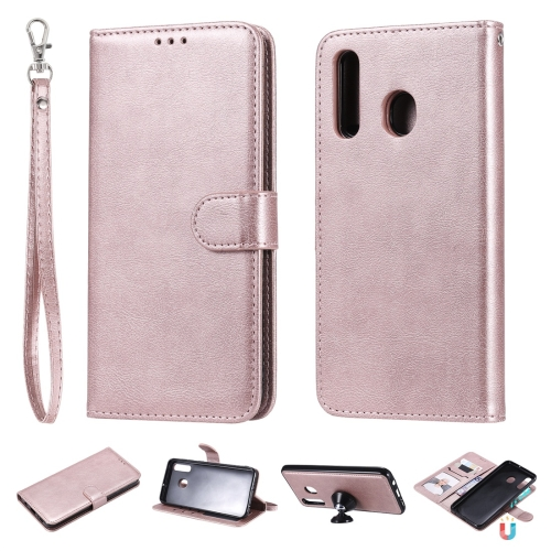 For Galaxy A50 / A30 / A20 Solid Color Horizontal Flip Protective Case with Holder & Card Slots & Wallet & Photo Frame & Lanyard(Rose Gold) фото