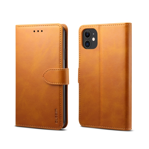 For iPhone 11 GUSSIM Magnetic Horizontal Flip Leather Case with Holder & Card Slots && Wallet(Yellow)
