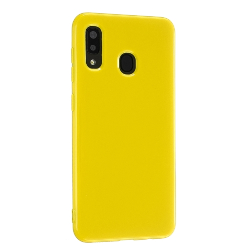 For Galaxy A20s 2.0mm Thick TPU Candy Color Protective Case(Yellow)