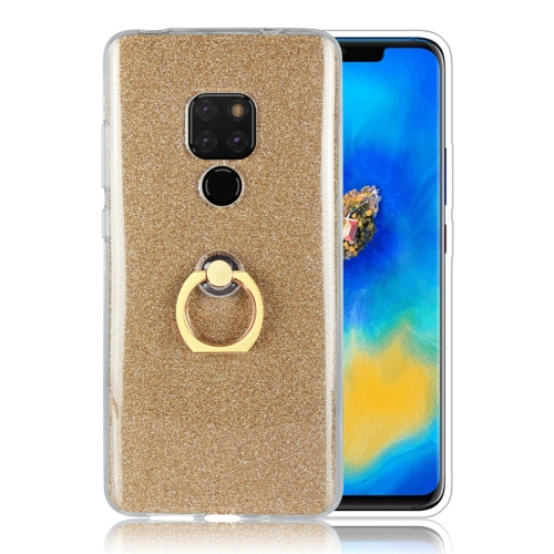 For Huawei Mate 20 Glittery Powder Shockproof TPU Protective Case with Ring Holder(Gold)