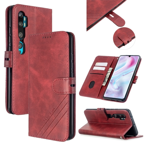For Xiaomi CC9 Pro / Note 10 Pro Stitching Style 2-Color Cow Texture Horizontal Flip PU Leather Case with Holder & Card Slot & Lanyard(Red)