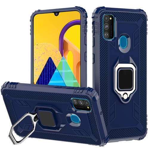 For Galaxy M30s Carbon Fiber Protective Case with 360 Degree Rotating Ring Holder(Blue) фото