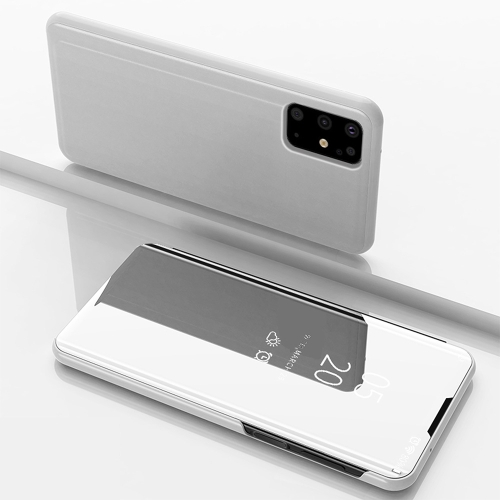 For Galaxy S20+ Plated Mirror Horizontal Flip Leather Case with Holder(Silver)  - buy with discount