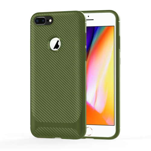 For iPhone 8 Plus & 7 Plus Carbon Fiber Texture Shockproof TPU Protective Case(Green)