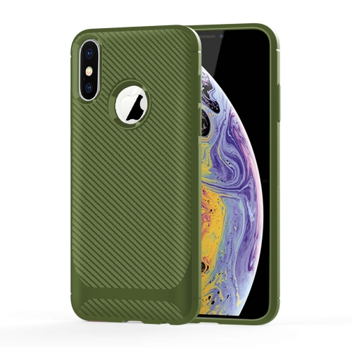 For iPhone XS / X Carbon Fiber Texture Shockproof TPU Protective Case(Green)