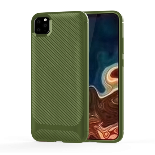 For iPhone 11 Pro Max Carbon Fiber Texture Shockproof TPU Protective Case(Green)