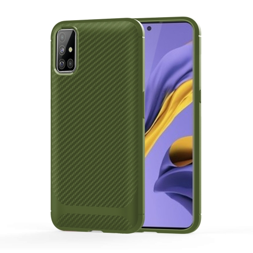 For Galaxy A71 Carbon Fiber Texture Shockproof TPU Protective Case(Green)