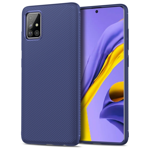 For Galaxy A51 Lenuo Leshen Series Stripe Texture TPU Protective Case(Dark Blue) фото
