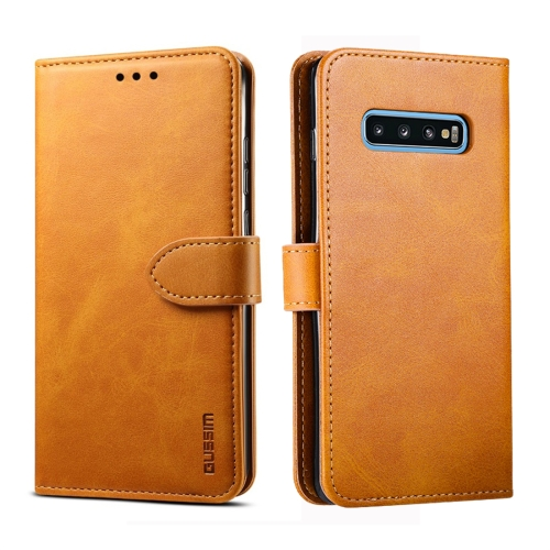 For Galaxy S10+ GUSSIM Business Style Horizontal Flip Leather Case with Holder & Card Slots & Wallet(Khaki) фото