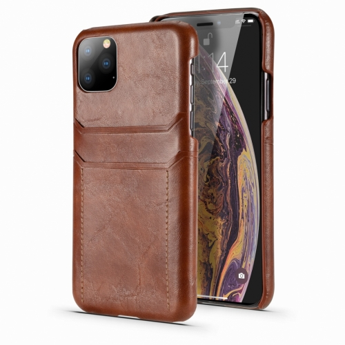 For iPhone 11 Pro Max Calf Texture PU + PC Protective Case with Card Slots(Brown) фото