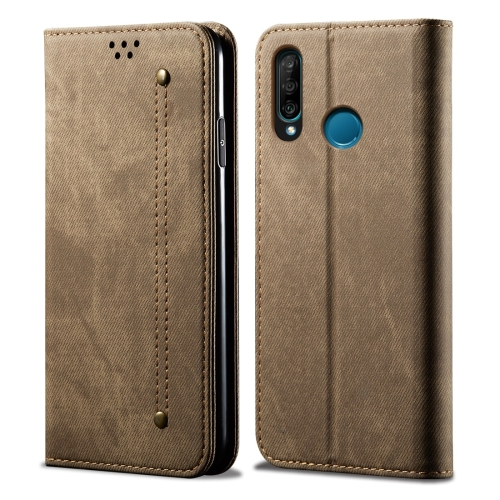 For Huawei P30 Lite Denim Texture Casual Style Horizontal Flip Leather Case with Holder & Card Slots & Wallet(Khaki)