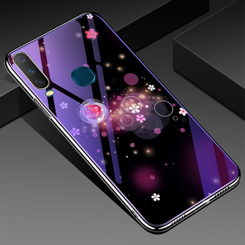 For Vivo Y17 Electroplated Edge Blue Light Glass Protective Case(Flowers)