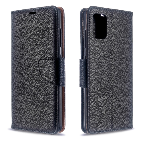 For Galaxy A51 Litchi Texture Pure Color Horizontal Flip PU Leather Case with Holder & Card Slots & Wallet & Lanyard(Black) фото