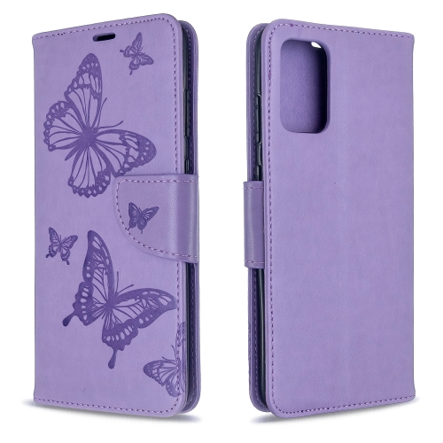 For Galaxy S20 Ultra Embossing Two Butterflies Pattern Horizontal Flip PU Leather Case with Holder & Card Slot & Wallet & Lanyard(Purple)