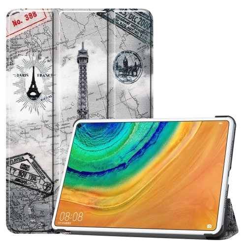 For Huawei MatePad Pro 10.8 Coloured Drawing Pattern Horizontal Deformation Flip Leather Case with Three-folding Holder(Ancient Tower)